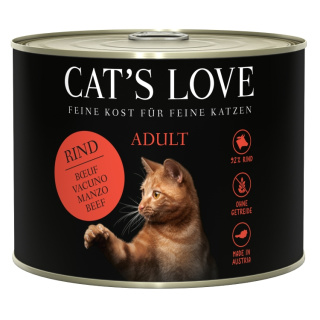 Cats Love Katzennassfutter Adult mit Rind pur 200g