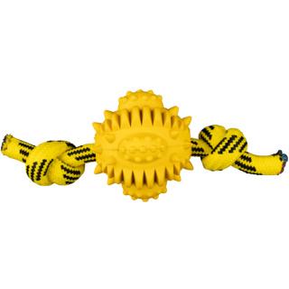 azoona Hundespielzeug Rugby am Seil gelb