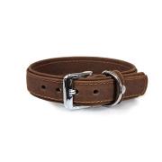 Das Lederband Hundehalsband Boston Mocca Breite 30mm