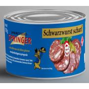Landmetzgerei Springer Dosenwurst  Schwarzwurst scharf  190g