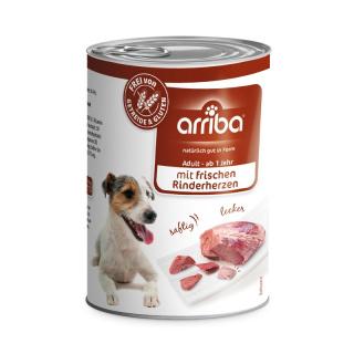 arriba Hundenassfutter mit frischen Rinderherzen 400g